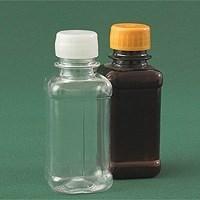 Бутылка квадратная 125 мл коричневая с крышкой и контрольным кольцом ПЭТ - фото 8542