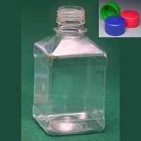 Бутылка квадратная 270 мл натуральная с крышкой  ПЭТ - фото 8547
