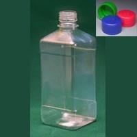 Бутылка квадратная 540 мл коричневая с крышкой  ПЭТ - фото 8552