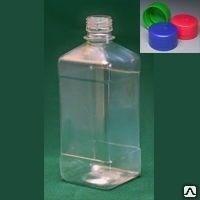 Бутылка квадратная 540 мл коричневая с крышкой  и контрольным кольцом ПЭТ - фото 8553