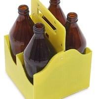 Переноска 4-х бутылок (1л. стекло) полипропилен (гофра) - фото 8562