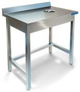 Стол пристенный для сбора отходов ТЕХНО-ТТ СПС-222/600 нерж (отверстие в центре)