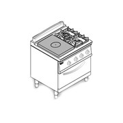 Плита комбинированная 740 серии TECNOINOX PFPG8GG7 713062