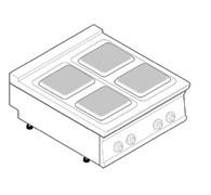 Плита 4 конфорочная 740 серии tecnoinox pcs8e7 716006