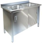 Ванна моечная двухсекционная с распашными дверками ТЕХНО-ТТ ВМ-25/668 нерж