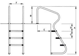 Лесенка под БП, БС с поручнем и металлическими анкерами