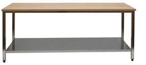 СКБ-П 14/7 Стол со столешницей наборный бук (40 мм) Сварная конструкция 1400х700х850 с полкой
