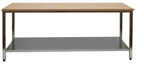 СКБ-П 15/7 Стол со столешницей наборный бук (40 мм) Сварная конструкция 1500х700х850 с полкой