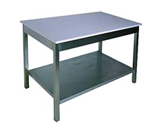 СМ 10/6 Стол разрубочный со столешницей полностью из полипропилена (30 мм) 1000х600х850 с обвязкой ножек, без полки