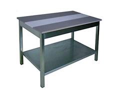 СМП 15/7 Стол разрубочный, столешница со вставкой из полипропилена (585 мм) 1500х700х850 с обвязкой ножек, без полки