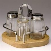 Набор для специй (соль, перец, зубочистки) на деревянной подставке Luxstahl [1003]