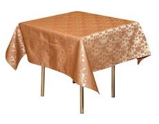 Скатерть 145х145 см «Мати» коричневая с золотом (цветок)