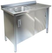 Ванна моечная с рабочей поверхностью и распашными дверками ТЕХНО-ТТ ВМ-35/456 нерж