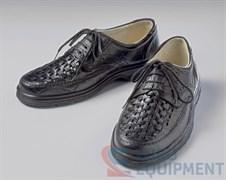 Полуботинки «НИКС» кожаные мужские с плетением на шнурках черные