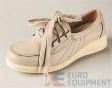 Полуботинки кожаные женские на шнурках, бежевые