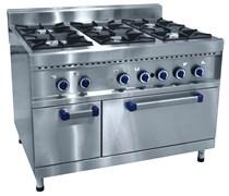 Плита газовая ABAT ПГК-69ЖШ шестигорелочная с жарочным шкафом (серия 900)