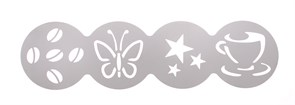 Трафарет декоратор для кофе 100 мм (чашка, звезды, бабочка, зерна)