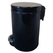 Корзина для мусора с педалью Lux, 30 литров (эмалированная сталь,черная)