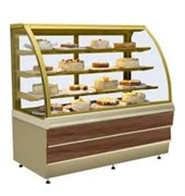 Прилавок холодильный кондитерский CARINA 02 1,4 орех тоскана,золото