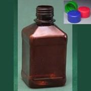 Бутылка квадратная 270 мл коричневая с крышкой и контрольным кольцом ПЭТ