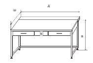 Стол приборный с выдвижным столиком, 2-мя ящиками и электрикой 1500х850х850