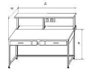 Стол приборный с 2-мя ящиками и электрикой + полка с 2-мя розетками и светильником 1500x850x1300