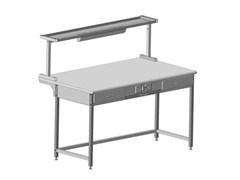 Стол приборный с выдв. столиком, 2 ящ. и электрикой + полка с 2 розетк. и светильн. 1500x850x1300