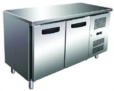 Холодильник-рабочий стол GASTRORAG GN 2100 TN ECX -2...+8оС, 300 л, 2 дверцы, 2 полки-решетки GN 1/1 с направляющими, столешница без борта, снаружи - нерж.сталь 304/430, внутри - алюминий