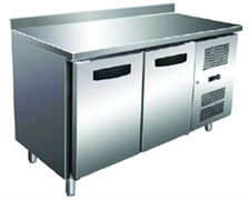 Холодильник-рабочий стол GASTRORAG GN 2200 TN ECX -2...+8оС, 300 л, 2 дверцы, 2 полки-решетки GN 1/1 с направляющими, столешница с бортом, снаружи - нерж.сталь 304/430, внутри - алюминий