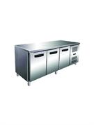 Морозильник-рабочий стол GASTRORAG GN 3100 BT ECX -10...-20оС, 450 л, 3 дверцы, 3 полки-решетки GN 1/1 с направляющими, столешница без борта, снаружи - нерж.сталь 304/430, внутри - алюминий