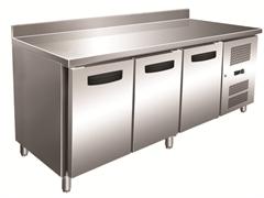 Холодильник-рабочий стол GASTRORAG GN 3200 TN ECX -2...+8оС, 450 л, 3 дверцы, 3 полки-решетки GN 1/1 с направляющими, столешница с бортом, снаружи - нерж.сталь 304/430, внутри - алюминий
