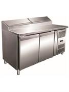 Холодильник-рабочий стол для пиццы GASTRORAG SH 2000 SER.700 +2…+10оС, 300 л, 2 дверцы, 2 полки-решетки GN 1/1 с направляющими, охлаждаемое гнездо вместимостью 7 GN 1/4 с крышкой, нерж.сталь 304