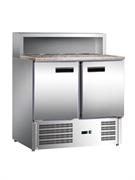 """Холодильник-рабочий стол для пиццы GASTRORAG PS900 SEC """"мини"""", +2...+8оС, 285 л, 2 дверцы, 2 полки-решетки, гнездо вместимостью 5 GN 1/6, столешница из гранита, снаружи - нерж.сталь 304/430, внутри - алюминий"""