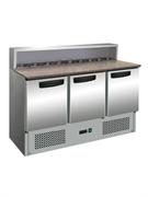 """Холодильник-рабочий стол для пиццы GASTRORAG PS903 SEC """"мини"""", +2...+8оС, 400 л, 3 дверцы, 3 полки-решетки, гнездо вместимостью 9 GN 1/6, столешница из гранита, снаружи - нерж.сталь 304/430, внутри - алюминий"""