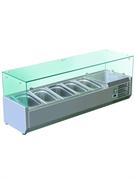 Витрина GASTRORAG VRX 1200/330 настольная, охлаждаемая, +2...+8оС, размеры гнезда 845х245х155 мм, вместимость 5 GN 1/4, прямое стекло, нерж.сталь 304