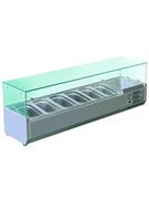 Витрина GASTRORAG VRX 1500/380 настольная, охлаждаемая, +2...+8оС, размеры гнезда 1145х305х155 мм, вместимость  5 GN 1/3 + 1 GN 1/2, прямое стекло, нерж.сталь 304
