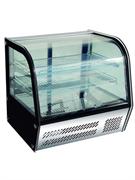 Витрина GASTRORAG HTR120 настольная, охлаждаемая, 0...+12оС, 120 л, выпуклое переднее стекло, раздвижные дверцы, 2 хромированные полки-решетки, подсветка
