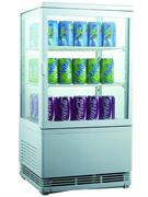 Холодильный шкаф витринного типа GASTRORAG RT-58W 0…+12оС, 58 л, панорамный, 1 распашная стеклянная дверца, подсветка, 2 полки-решетки, цвет белый