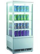 Холодильный шкаф витринного типа GASTRORAG RT-78W 0…+12оС, 78 л, панорамный, 1 распашная стеклянная дверца, подсветка, 3 полки-решетки, цвет белый