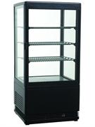 Холодильный шкаф витринного типа GASTRORAG RT-78B 0…+12оС, 78 л, панорамный, 1 распашная стеклянная дверца, подсветка, 3 полки-решетки, цвет черный