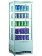Холодильный шкаф витринного типа GASTRORAG RT-98W 0…+12оС, 96 л, панорамный, 1 распашная стеклянная дверца, подсветка, 4 полки-решетки, цвет белый