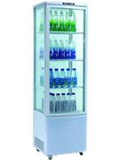 Холодильный шкаф витринного типа GASTRORAG RT-235W 0…+12оС, 235 л, панорамный, 1 распашная стеклянная дверца, верхняя подсветка, 3 полки-решетки, цвет белый