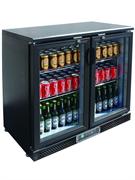 Холодильный шкаф витринного типа GASTRORAG SC248G.A +2…+8оС, 202 л, 2 распашные стеклянные дверцы с замками, подсветка, 2 полки-решетки, цвет черный