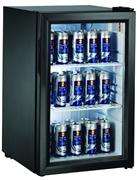 Холодильный шкаф витринного типа GASTRORAG BC68-MS 0…+10оС, 68 л, внутренние размеры камеры 360х400х580 мм, 1 распашная стеклянная дверца, подсветка, 2 полки-решетки, цвет черный