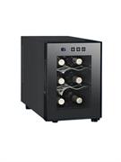 Холодильный шкаф для вина GASTRORAG JC-16C термоэлектрический (без компрессора), +8...+18оС, 16 л, 1 стеклянная дверца, подсветка, сенсорное управление, вместимость 6 бутылок 0,75 л, цвет черный