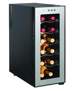 Холодильный шкаф для вина GASTRORAG JC-33C термоэлектрический (без компрессора), +12...+18оС, 33 л, 1 стеклянная дверца, подсветка, сенсорное управление, вместимость 12 бутылок 0,75 л, цвет черный