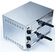 Печь для пиццы GASTRORAG EPZ-03 электрическая, 2 модуля с выдвижными решетками размером 360х335 мм и поддонами для крошек, независимый верхний и нижний нагрев, температура 60-300оС, таймер 0-15 мин, нерж.сталь