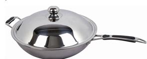 Сковорода-вок GASTRORAG BH-36 диаметр 36 см, с ручкой и крышкой, нерж.сталь 430