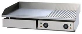 Сковорода GASTRORAG GH-EG-822E электрическая, настольная, комбинированная рабочая поверхность из стали толщиной 8 мм (2/3 гладкая, 1/3 рифленая) с 2 зонами нагрева, бортиком и жиросборником, материал корпуса - нерж.сталь