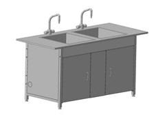 Стол-мойка двойная 1200х600х850 DURCON с двумя раковинами и 2-мя смесителями tof